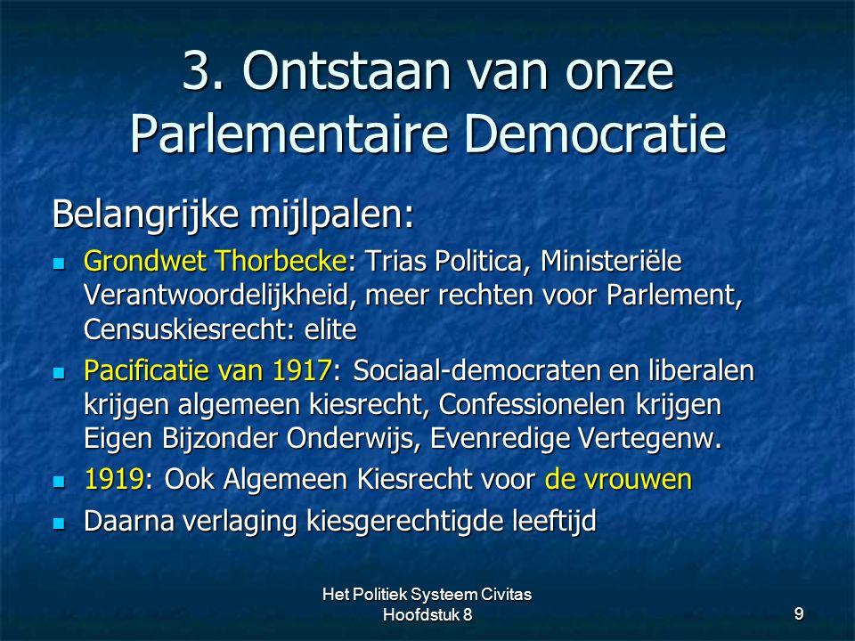 3. Ontstaan van onze Parlementaire Democratie 9 Belangrijke mijlpalen: Grondwet Thorbecke: Trias Politica, Ministeriële Verantwoordelijkheid, meer rec