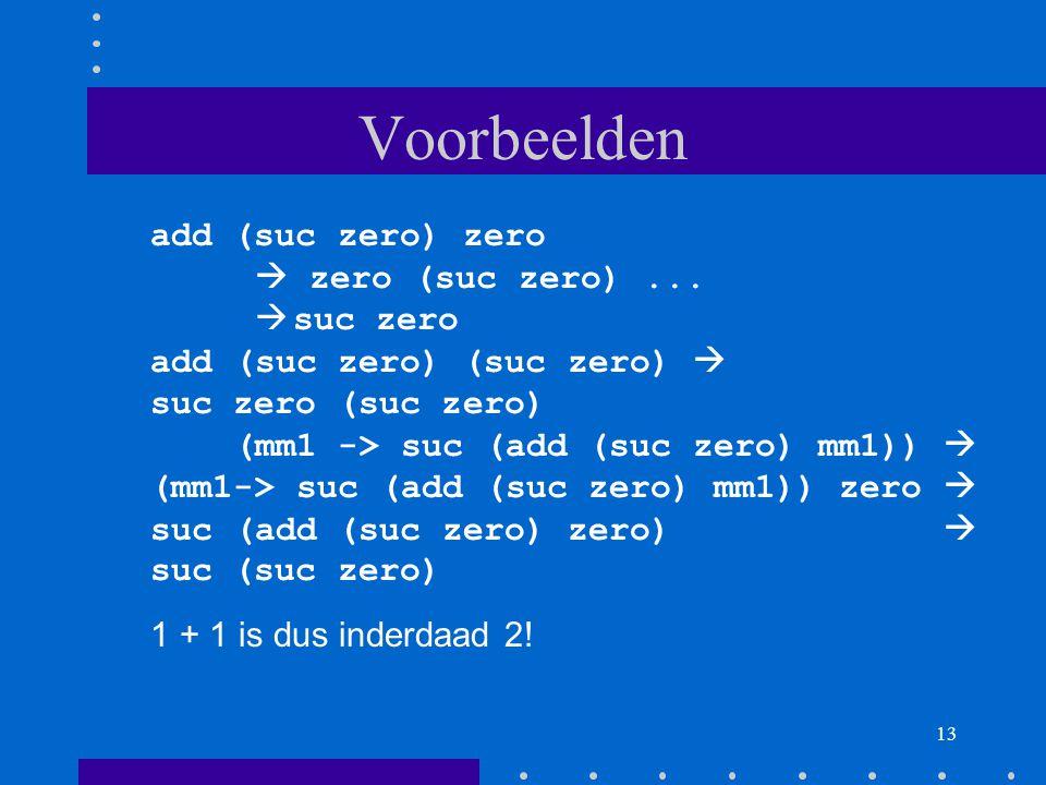 13 Voorbeelden add (suc zero) zero  zero (suc zero)...
