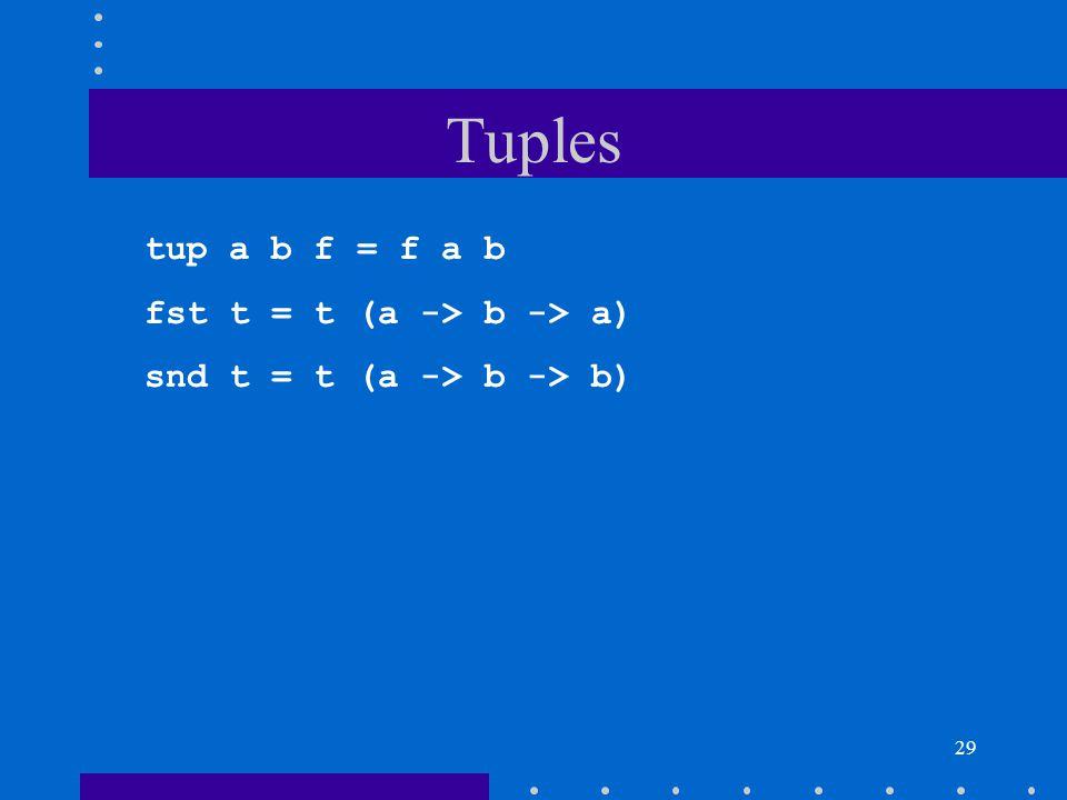 29 Tuples tup a b f = f a b fst t = t (a -> b -> a) snd t = t (a -> b -> b)