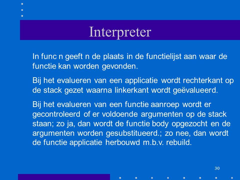 30 Interpreter In func n geeft n de plaats in de functielijst aan waar de functie kan worden gevonden.