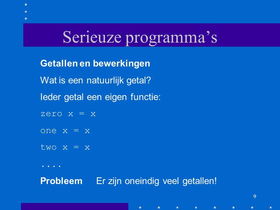 9 Serieuze programma's Getallen en bewerkingen Wat is een natuurlijk getal.