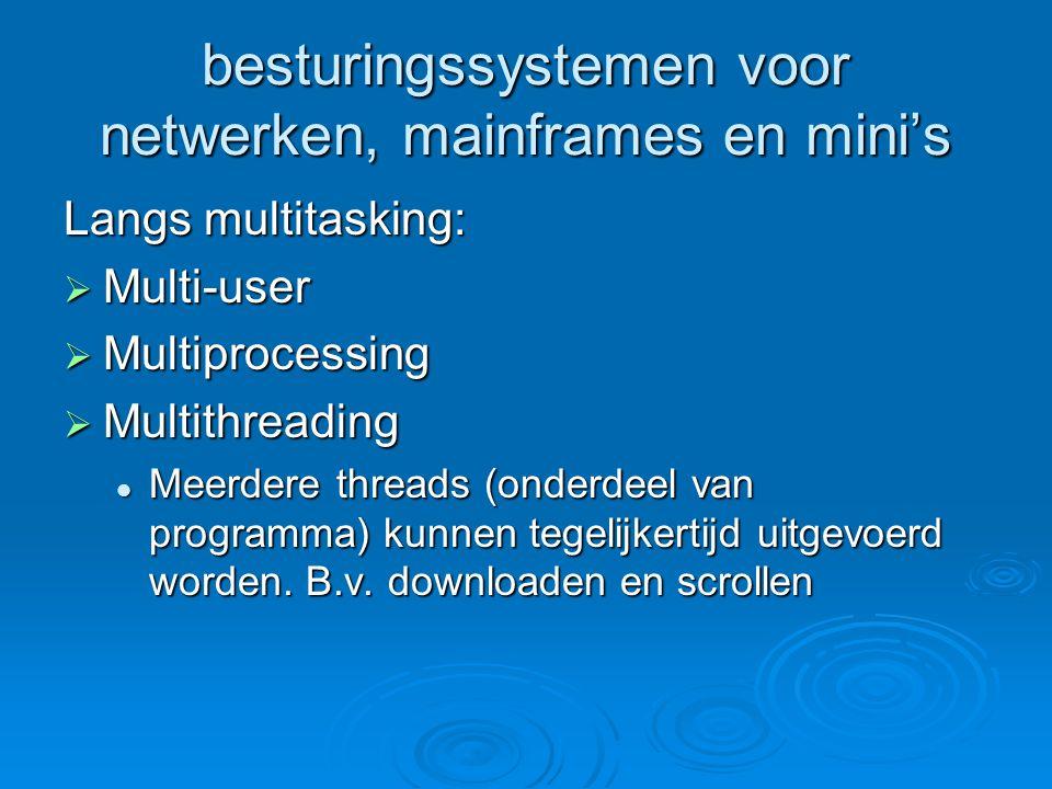 Voorbeelden van netwerkbesturingssystemen  Windows NT/2000/2003  Novell Netware  UNIX (open source)  Linux  DBMS = databasemanagementsysteem