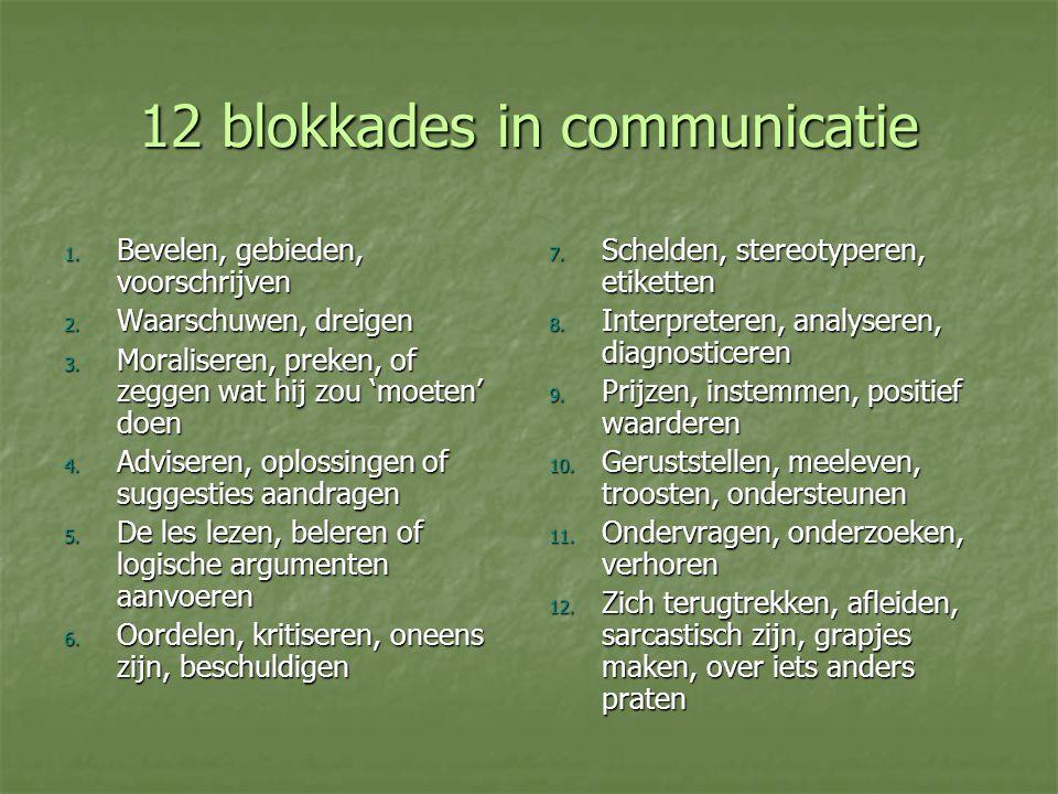 12 blokkades in communicatie 1. Bevelen, gebieden, voorschrijven 2. Waarschuwen, dreigen 3. Moraliseren, preken, of zeggen wat hij zou 'moeten' doen 4