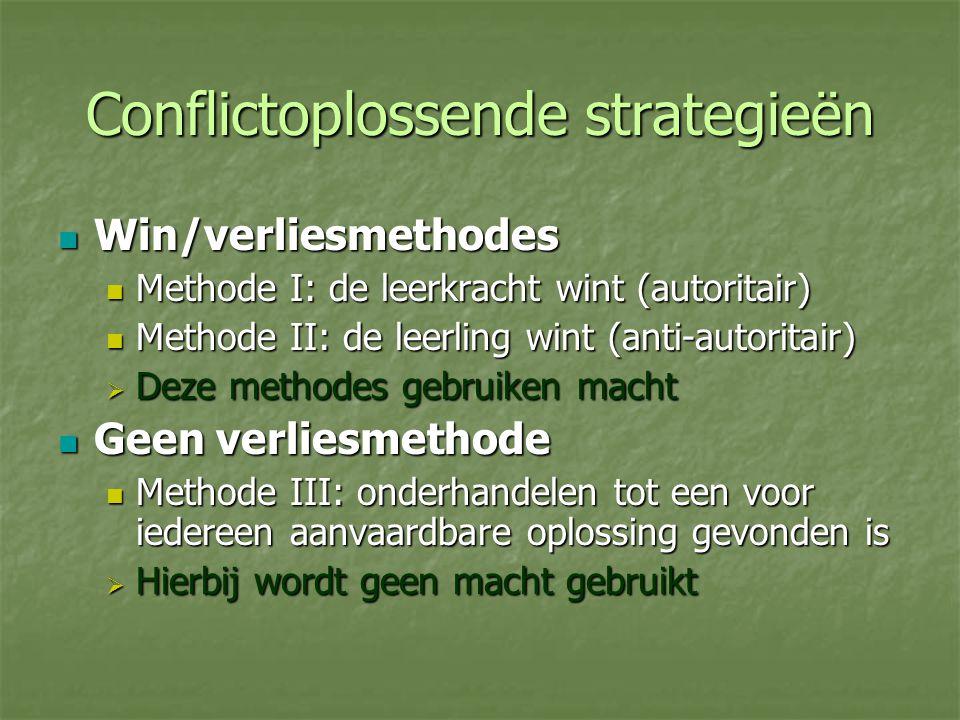 Conflictoplossende strategieën Win/verliesmethodes Win/verliesmethodes Methode I: de leerkracht wint (autoritair) Methode I: de leerkracht wint (autor
