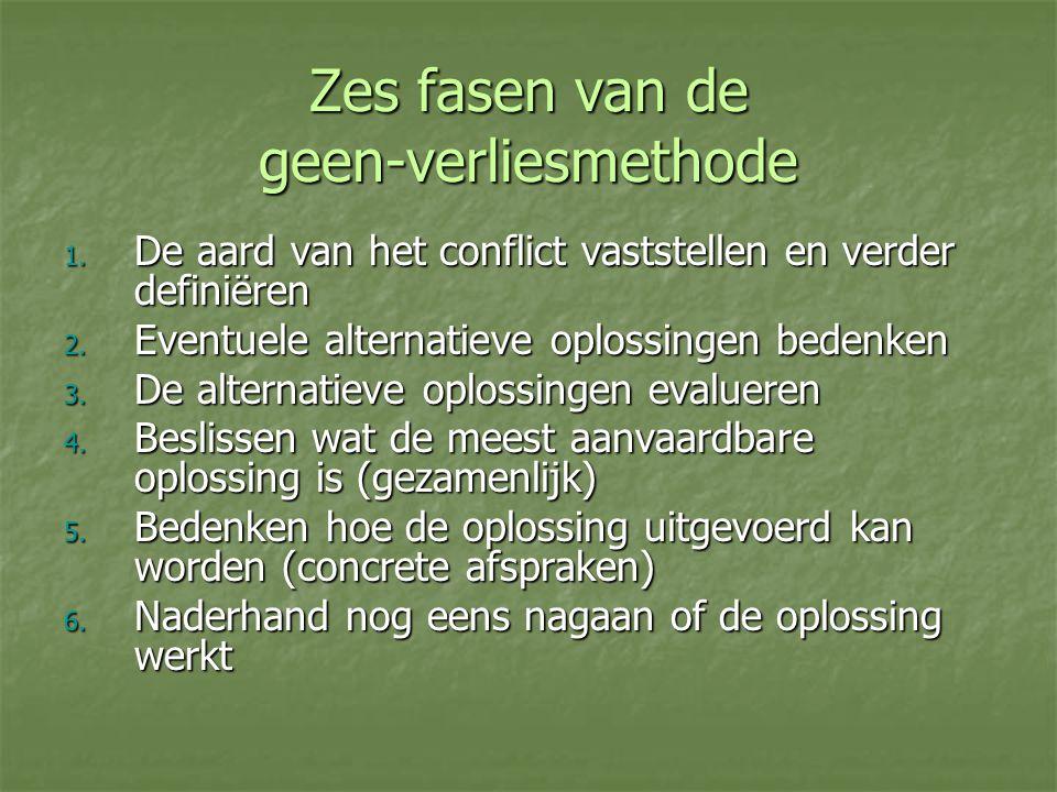 Zes fasen van de geen-verliesmethode 1. De aard van het conflict vaststellen en verder definiëren 2. Eventuele alternatieve oplossingen bedenken 3. De