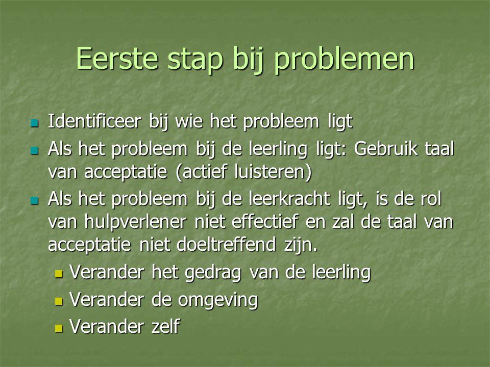 Eerste stap bij problemen Identificeer bij wie het probleem ligt Identificeer bij wie het probleem ligt Als het probleem bij de leerling ligt: Gebruik