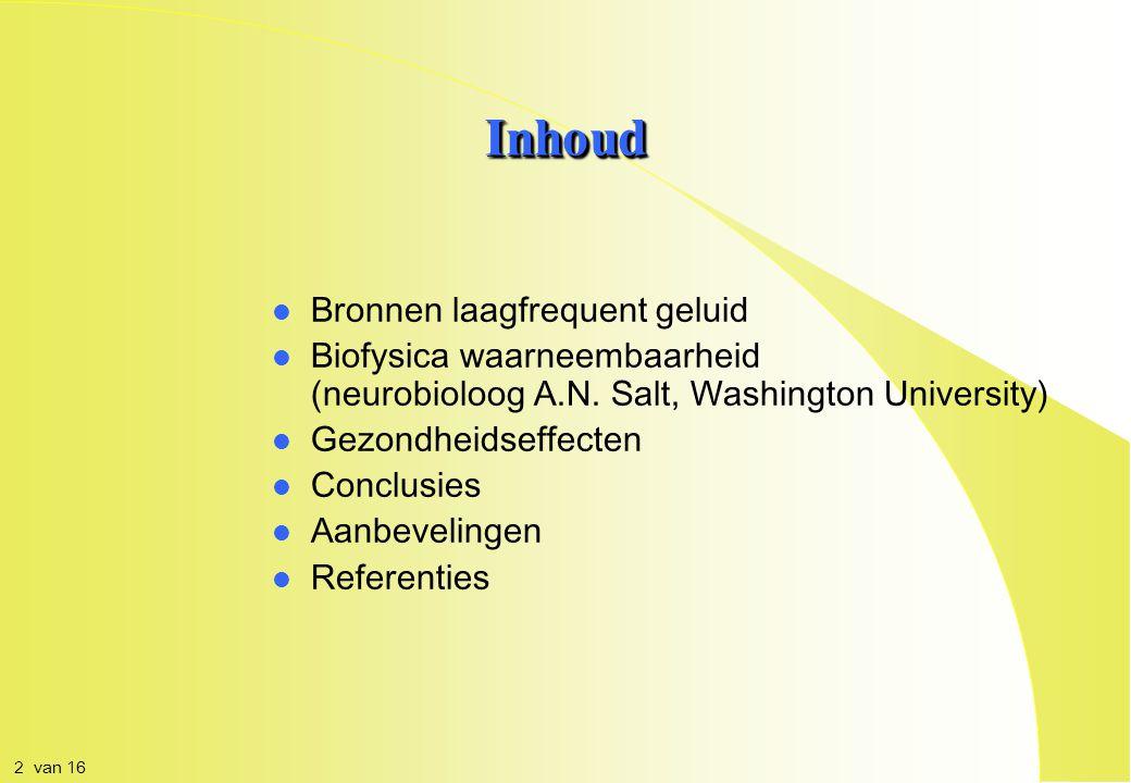 Laagfrequentgeluidhinder Zelfstandig biofysisch verschijnsel Dr Mireille Oud medisch fysicus / consultant (Congres Geluid, Trillingen, Luchtkwaliteit, Gebied & Gebouw , 6 november 2012, Nieuwegein) 1 van 16
