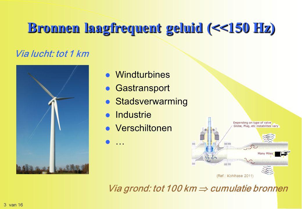 Via lucht: tot 1 km Bronnen laagfrequent geluid (<<150 Hz) Via grond: tot 100 km  cumulatie bronnen l l Windturbines l l Gastransport l l Stadsverwarming l l Industrie l l Verschiltonen l l … (Ref.: Kohlhase 2011) 3 van 16