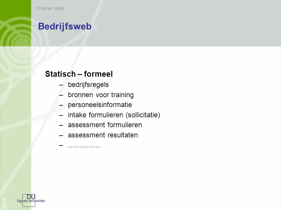 Bedrijfsweb Statisch – formeel –bedrijfsregels –bronnen voor training –personeelsinformatie –intake formulieren (sollicitatie) –assessment formulieren –assessment resultaten –…………..