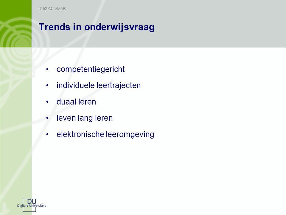 27-02-04 VMAB Trends in onderwijsvraag competentiegericht individuele leertrajecten duaal leren leven lang leren elektronische leeromgeving