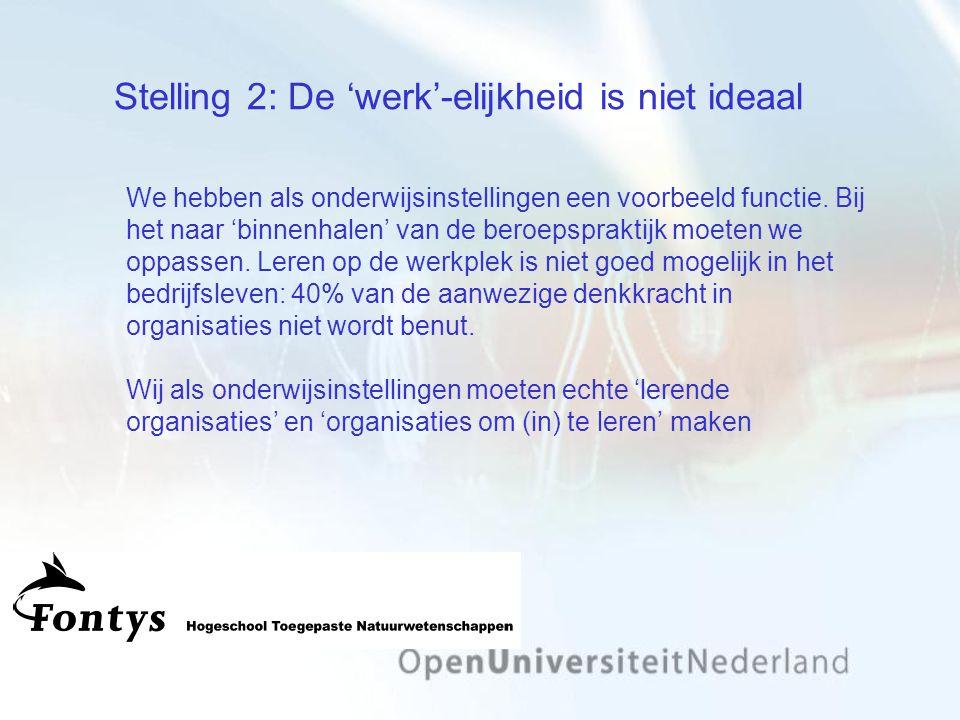 Stelling 2: De 'werk'-elijkheid is niet ideaal We hebben als onderwijsinstellingen een voorbeeld functie.