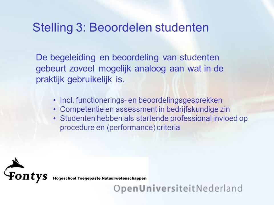 Stelling 3: Beoordelen studenten De begeleiding en beoordeling van studenten gebeurt zoveel mogelijk analoog aan wat in de praktijk gebruikelijk is.