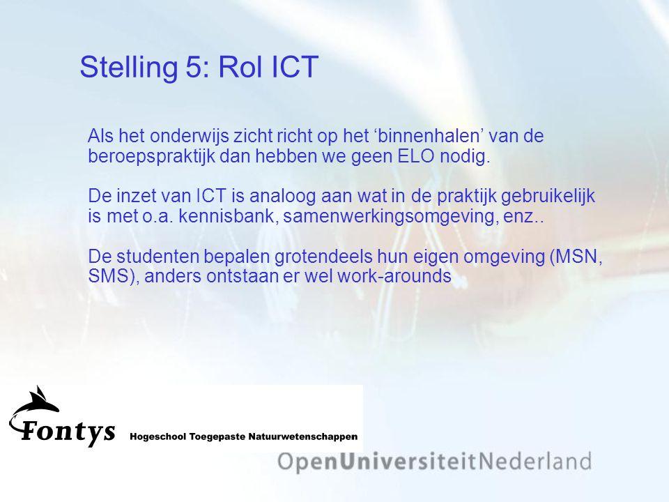 Stelling 5: Rol ICT Als het onderwijs zicht richt op het 'binnenhalen' van de beroepspraktijk dan hebben we geen ELO nodig.