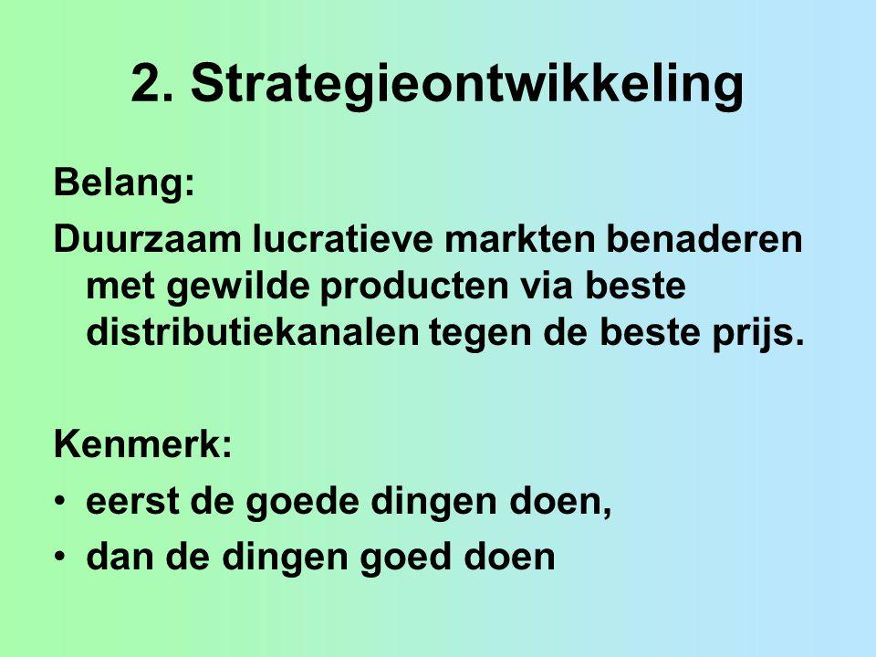 2. Strategieontwikkeling Belang: Duurzaam lucratieve markten benaderen met gewilde producten via beste distributiekanalen tegen de beste prijs. Kenmer