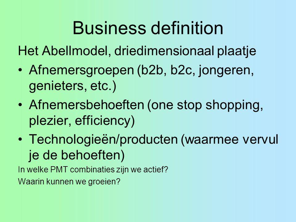 Business definition Het Abellmodel, driedimensionaal plaatje Afnemersgroepen (b2b, b2c, jongeren, genieters, etc.) Afnemersbehoeften (one stop shoppin