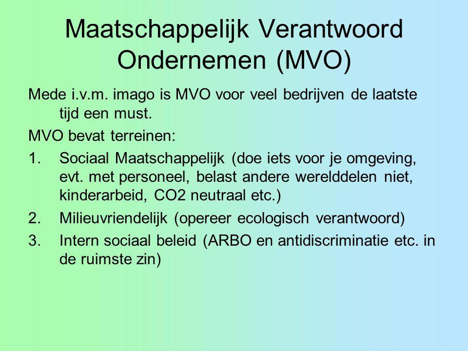 Maatschappelijk Verantwoord Ondernemen (MVO) Mede i.v.m. imago is MVO voor veel bedrijven de laatste tijd een must. MVO bevat terreinen: 1.Sociaal Maa