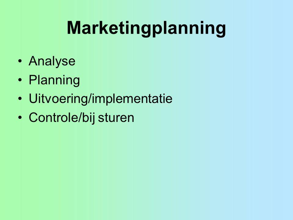 4 Concurrentie strategieën van Porter 1.costleadership (zo goedkoop mogelijk produceren, schaalvoordelen) 2.differentiatie, onderscheiden van producten van de concurrentie, zorg voor USP 3.focusstrategie costfocus, kostenvoordelen op één niche differentiatie focus, niche marketing Als je niet kiest raak je stuck in the middle .