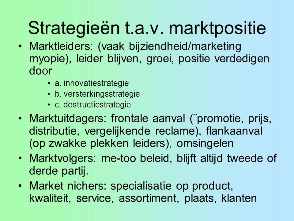 Strategieën t.a.v. marktpositie Marktleiders: (vaak bijziendheid/marketing myopie), leider blijven, groei, positie verdedigen door a. innovatiestrateg