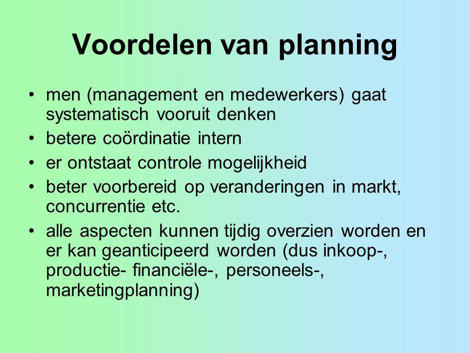 Planningshorizon Strategisch 3 a 5 jaar, denken in scenario's (what if....) Tactisch, 1 jaar, operationele concrete plannen Operationeel, dagelijks, wekelijks, maandelijks Horizon voor oliemaatschappij is anders dan voor.com bedrijf.