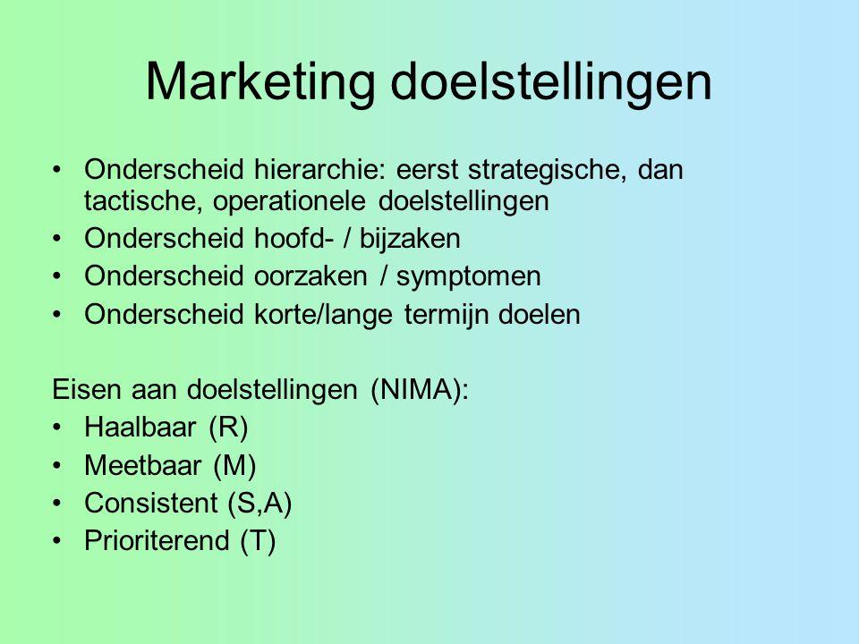 Marketing doelstellingen Onderscheid hierarchie: eerst strategische, dan tactische, operationele doelstellingen Onderscheid hoofd- / bijzaken Ondersch