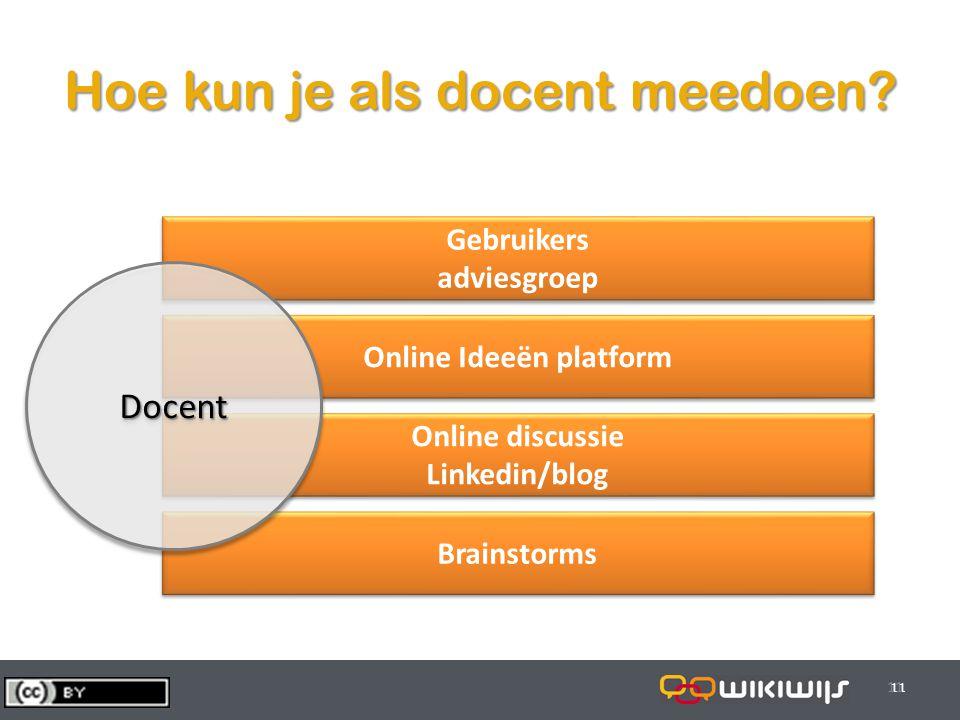 29-7-201411 Brainstorms Hoe kun je als docent meedoen? 11 Gebruikers adviesgroep Gebruikers adviesgroep Online Ideeën platform Online discussie Linked
