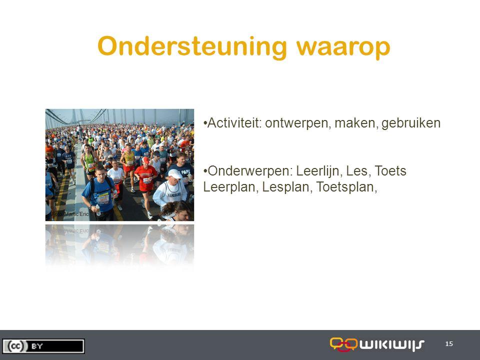 29-7-201415 Ondersteuning waarop Activiteit: ontwerpen, maken, gebruiken Onderwerpen: Leerlijn, Les, Toets Leerplan, Lesplan, Toetsplan,