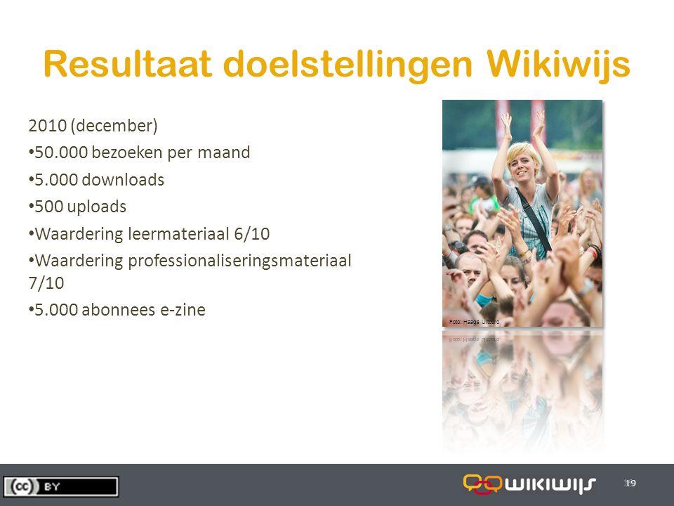 29-7-201419 Resultaat doelstellingen Wikiwijs 19 2010 (december) 50.000 bezoeken per maand 5.000 downloads 500 uploads Waardering leermateriaal 6/10 W