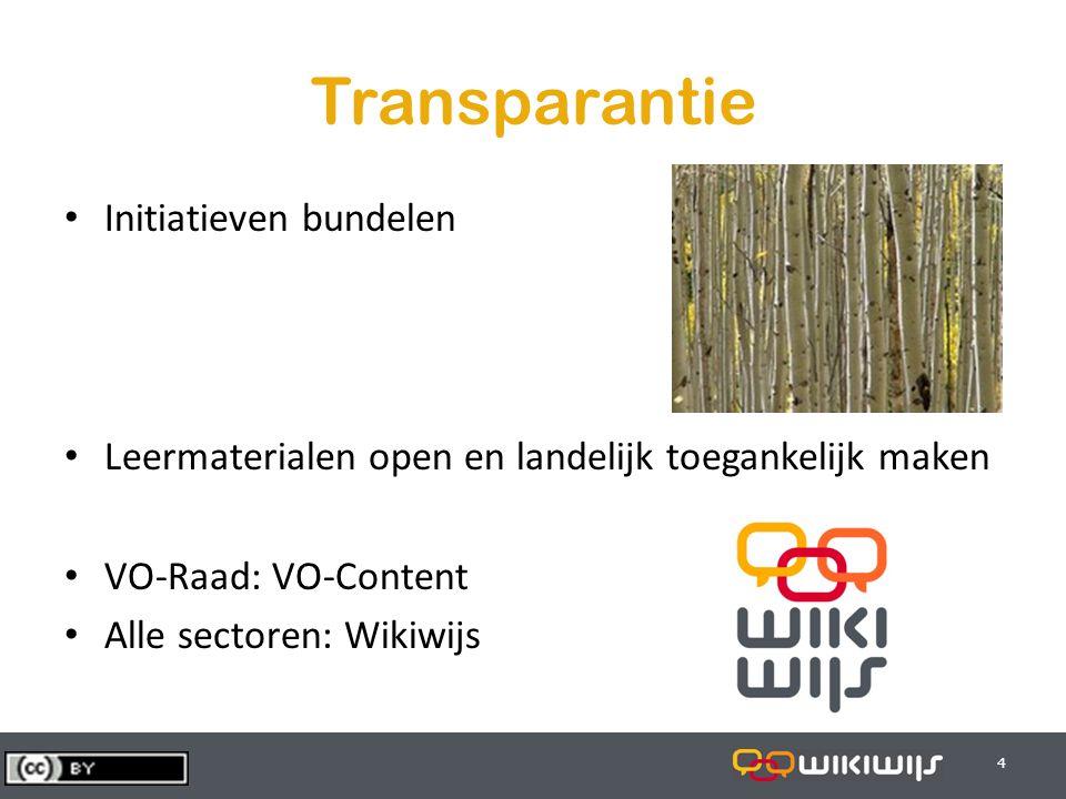 29-7-20144 44 Transparantie Initiatieven bundelen Leermaterialen open en landelijk toegankelijk maken VO-Raad: VO-Content Alle sectoren: Wikiwijs