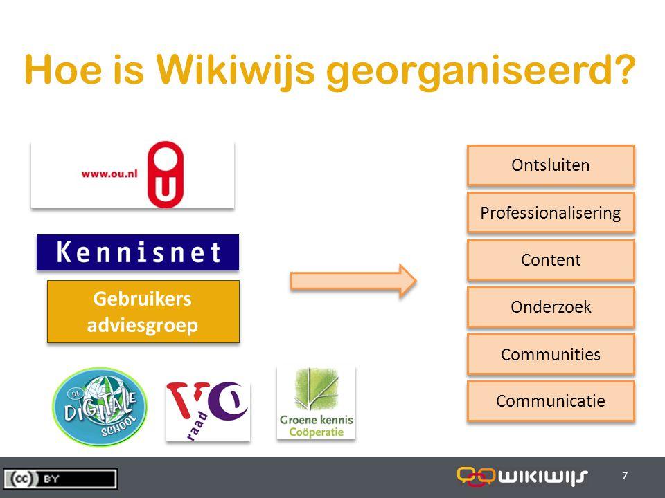 29-7-20147 77 Hoe is Wikiwijs georganiseerd? Gebruikers adviesgroep Gebruikers adviesgroep Ontsluiten Professionalisering Content Onderzoek Communitie