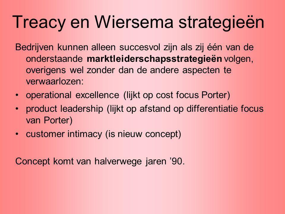 Treacy en Wiersema strategieën Bedrijven kunnen alleen succesvol zijn als zij één van de onderstaande marktleiderschapsstrategieën volgen, overigens w