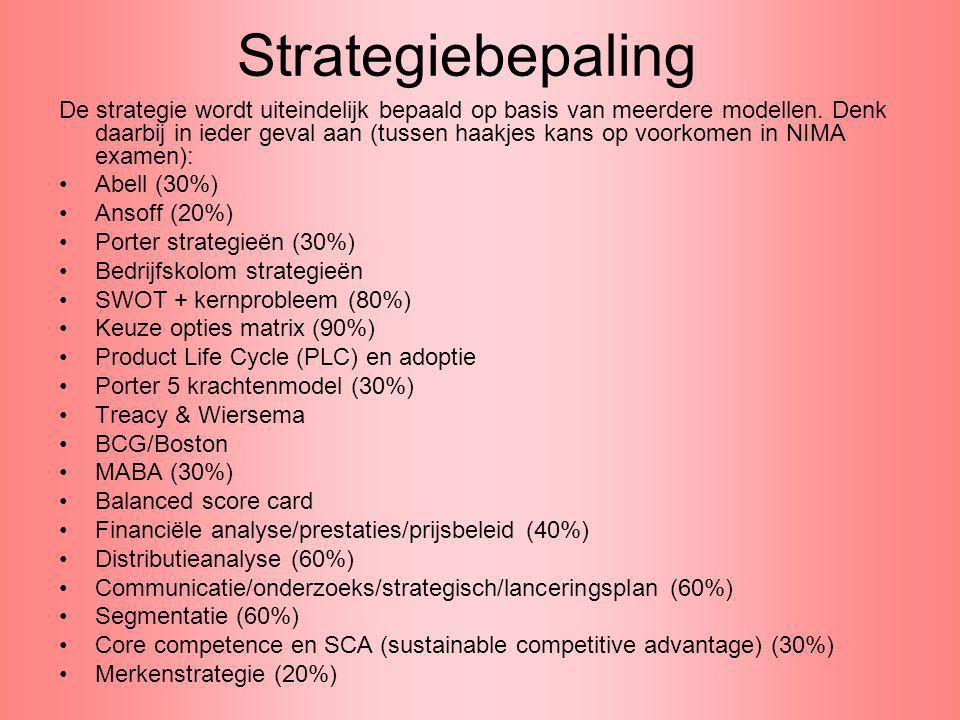 Strategiebepaling De strategie wordt uiteindelijk bepaald op basis van meerdere modellen. Denk daarbij in ieder geval aan (tussen haakjes kans op voor