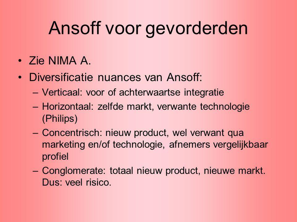 Ansoff voor gevorderden Zie NIMA A. Diversificatie nuances van Ansoff: –Verticaal: voor of achterwaartse integratie –Horizontaal: zelfde markt, verwan