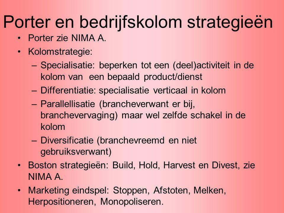 Porter en bedrijfskolom strategieën Porter zie NIMA A. Kolomstrategie: –Specialisatie: beperken tot een (deel)activiteit in de kolom van een bepaald p