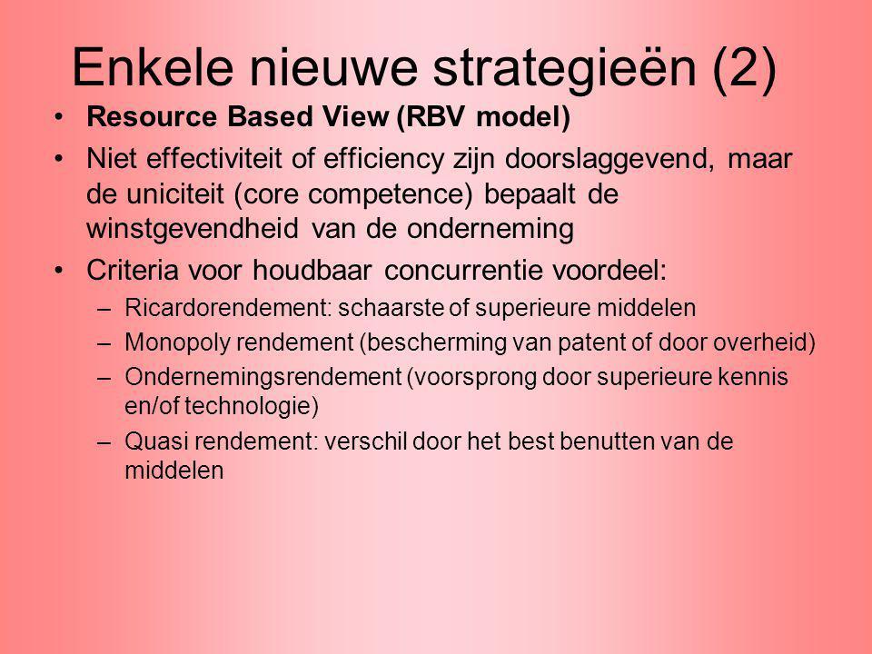 Enkele nieuwe strategieën (2) Resource Based View (RBV model) Niet effectiviteit of efficiency zijn doorslaggevend, maar de uniciteit (core competence