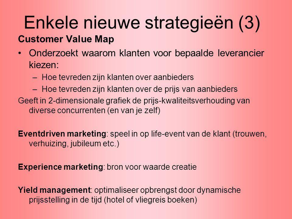 Enkele nieuwe strategieën (3) Customer Value Map Onderzoekt waarom klanten voor bepaalde leverancier kiezen: –Hoe tevreden zijn klanten over aanbieder