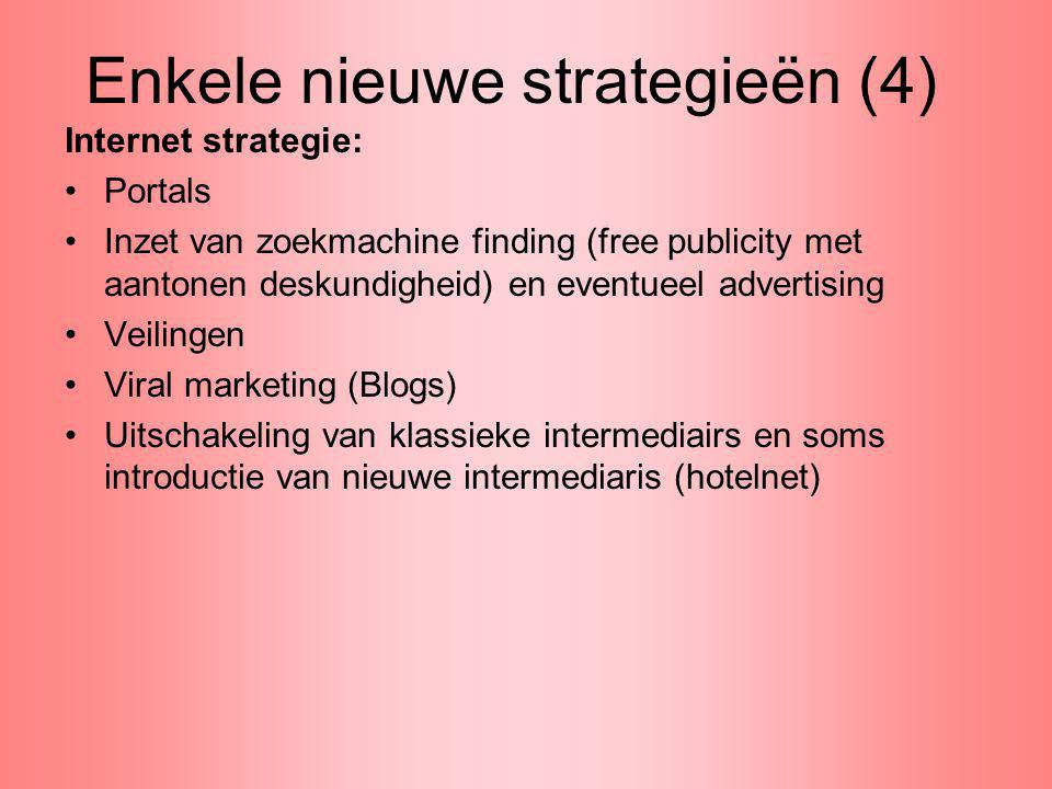 Enkele nieuwe strategieën (4) Internet strategie: Portals Inzet van zoekmachine finding (free publicity met aantonen deskundigheid) en eventueel adver