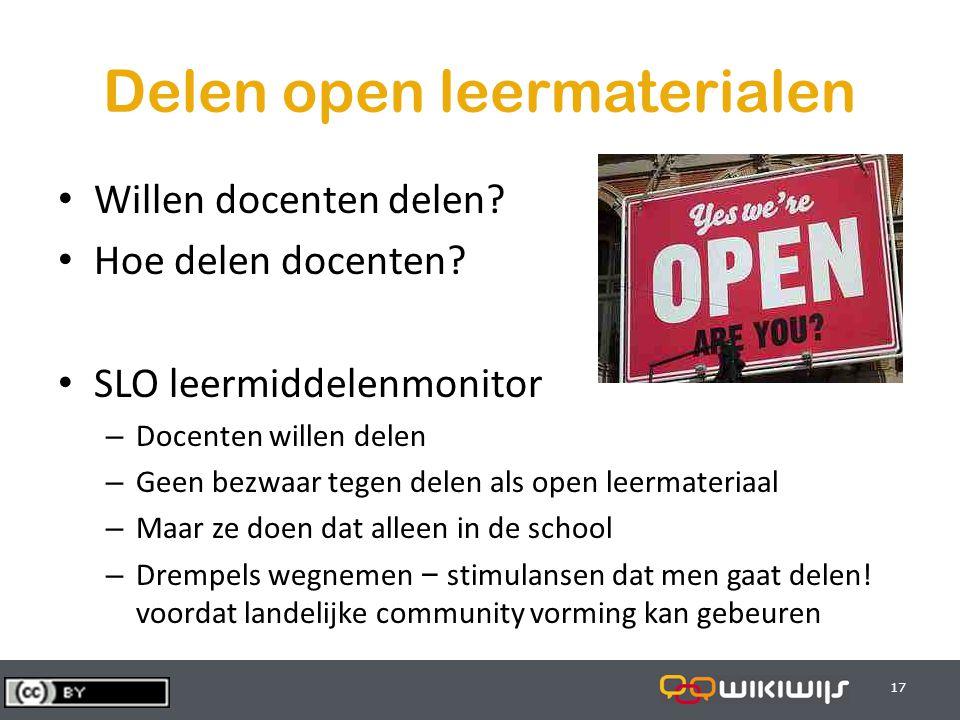 29-7-201417 Delen open leermaterialen Willen docenten delen.