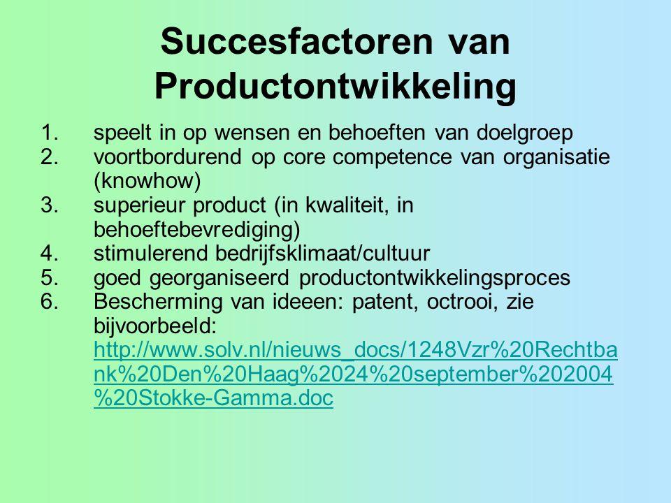 Succesfactoren van Productontwikkeling 1.speelt in op wensen en behoeften van doelgroep 2.voortbordurend op core competence van organisatie (knowhow)