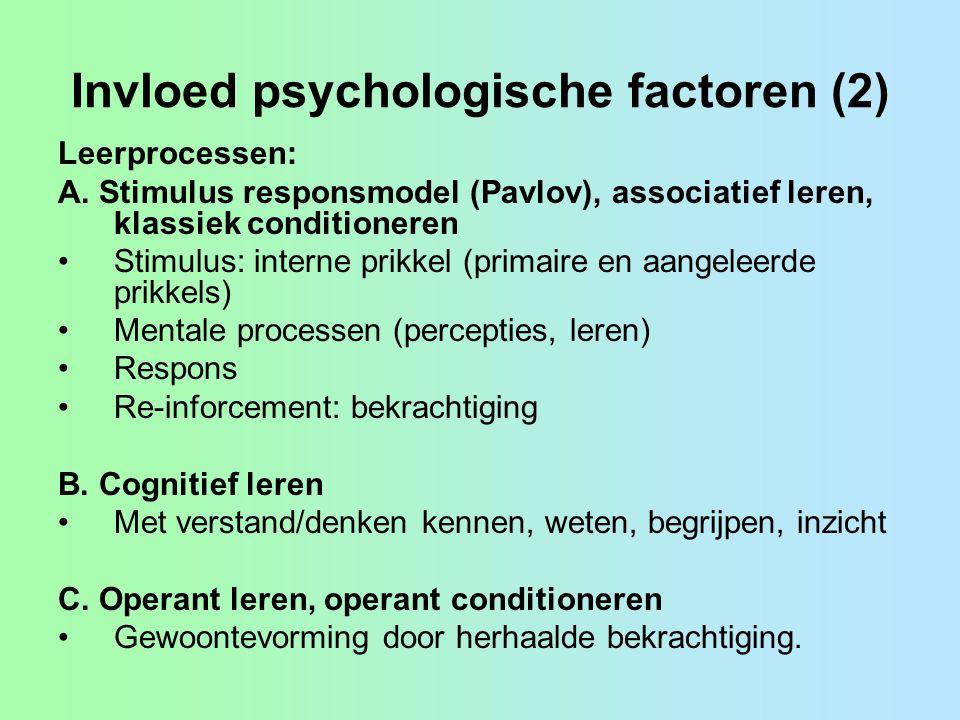 Invloed psychologische factoren (2) Leerprocessen: A.