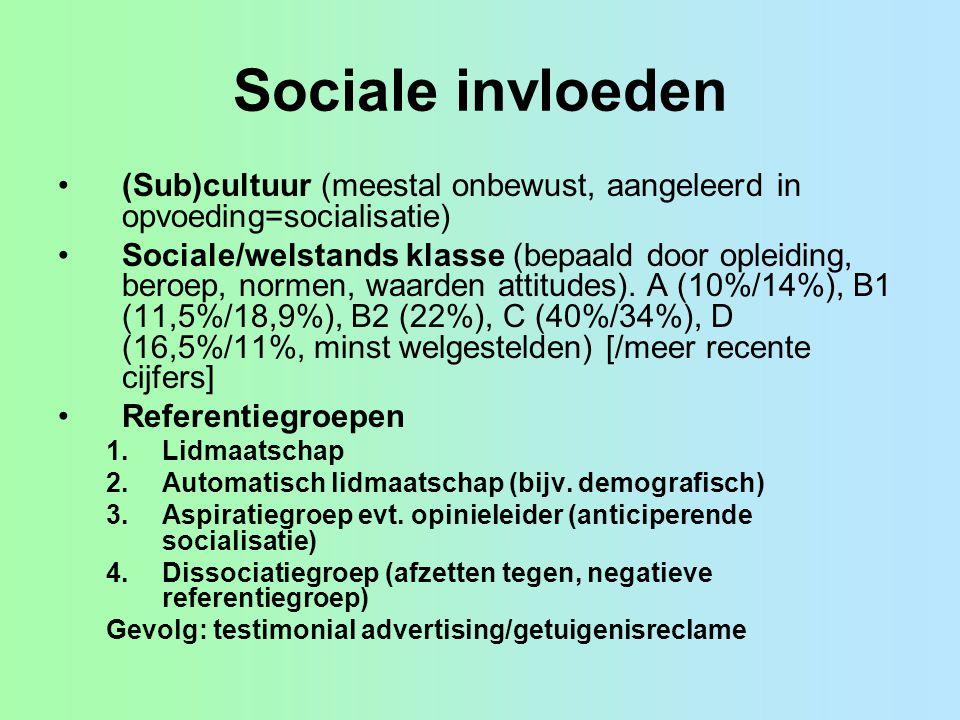 Sociale invloeden (Sub)cultuur (meestal onbewust, aangeleerd in opvoeding=socialisatie) Sociale/welstands klasse (bepaald door opleiding, beroep, normen, waarden attitudes).