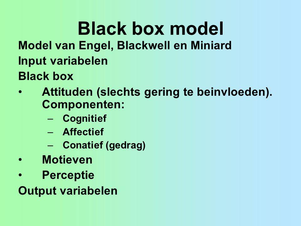 Black box model Model van Engel, Blackwell en Miniard Input variabelen Black box Attituden (slechts gering te beinvloeden).