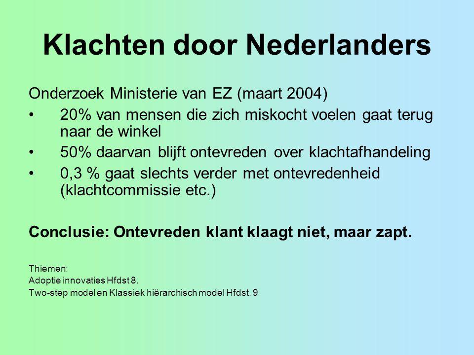 Klachten door Nederlanders Onderzoek Ministerie van EZ (maart 2004) 20% van mensen die zich miskocht voelen gaat terug naar de winkel 50% daarvan blijft ontevreden over klachtafhandeling 0,3 % gaat slechts verder met ontevredenheid (klachtcommissie etc.) Conclusie: Ontevreden klant klaagt niet, maar zapt.