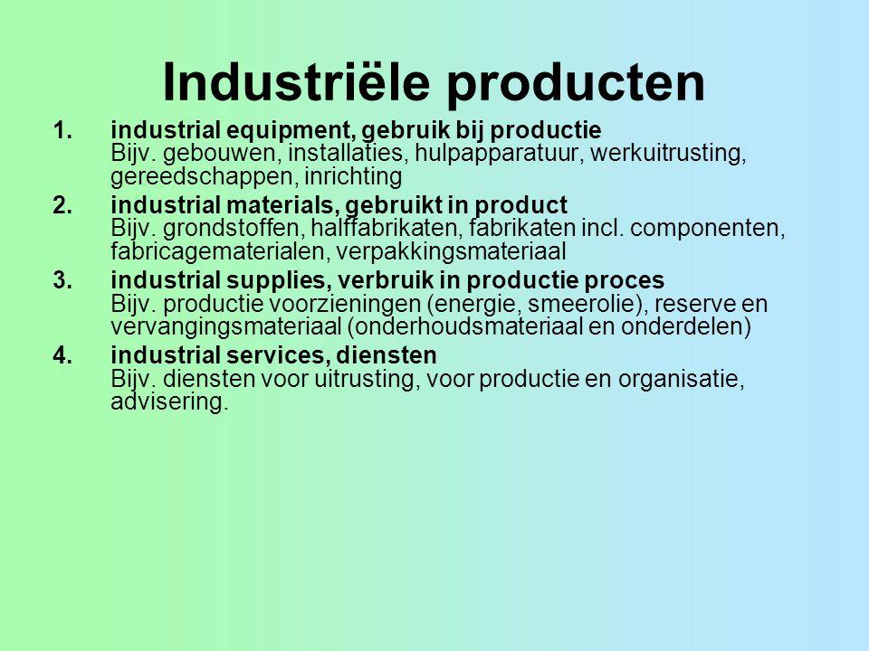 Industriële producten 1.industrial equipment, gebruik bij productie Bijv.