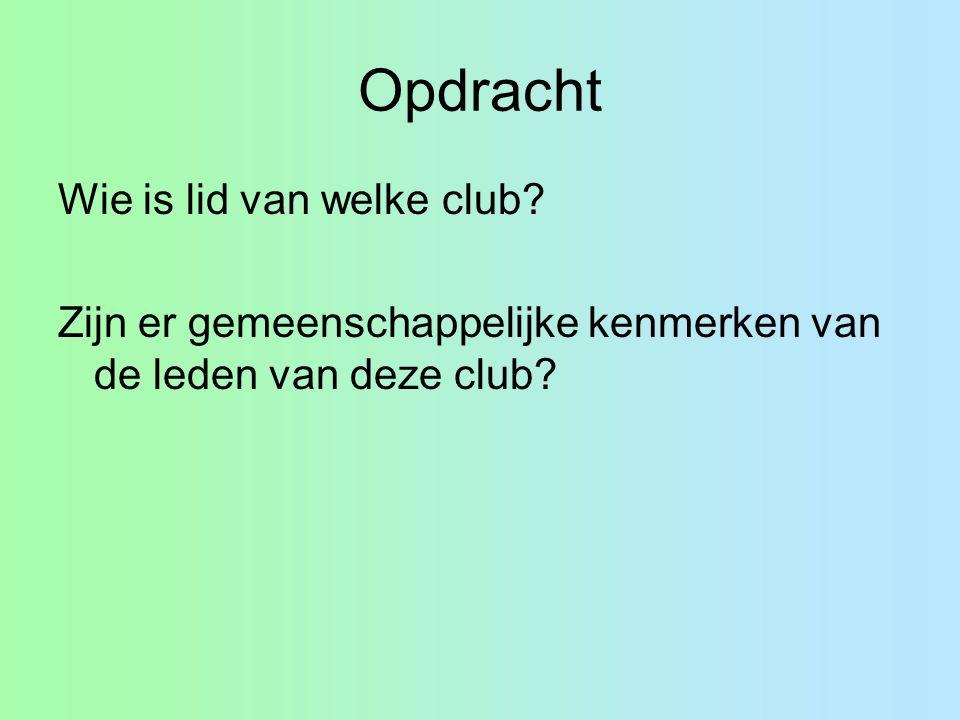 Opdracht Wie is lid van welke club.