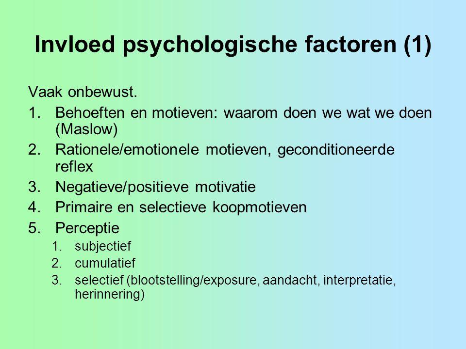 Invloed psychologische factoren (1) Vaak onbewust.
