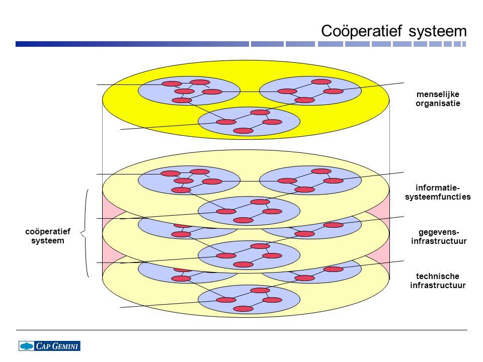 menselijke organisatie informatie- systeemfuncties coöperatief systeem gegevens- infrastructuur technische infrastructuur Coöperatief systeem