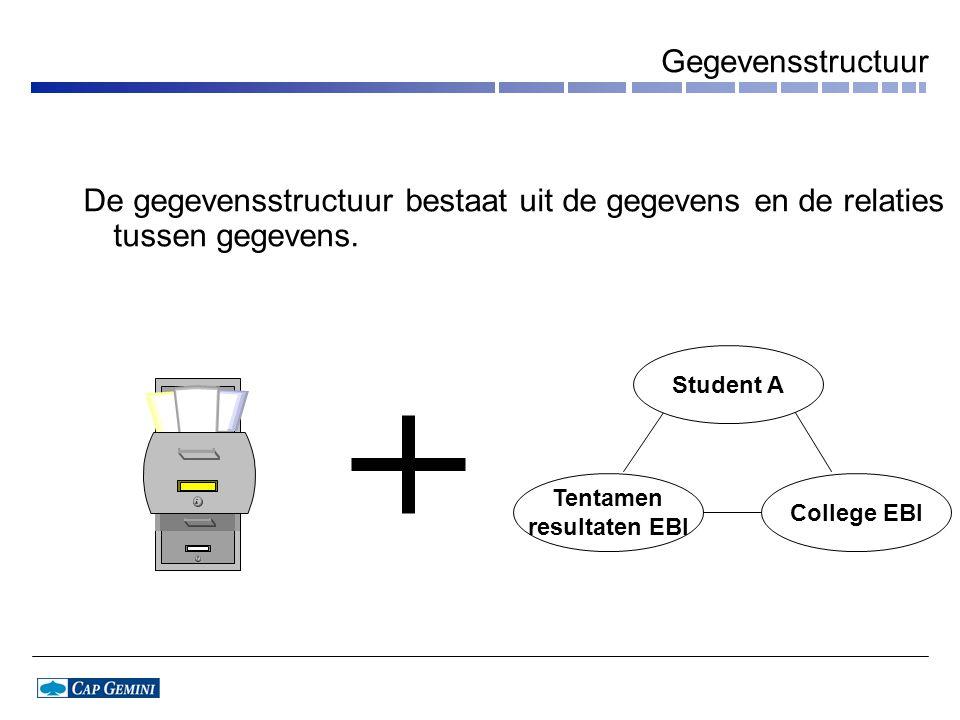 Gegevensstructuur De gegevensstructuur bestaat uit de gegevens en de relaties tussen gegevens.