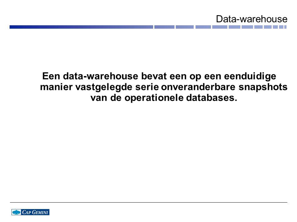 Data-warehouse Een data-warehouse bevat een op een eenduidige manier vastgelegde serie onveranderbare snapshots van de operationele databases.