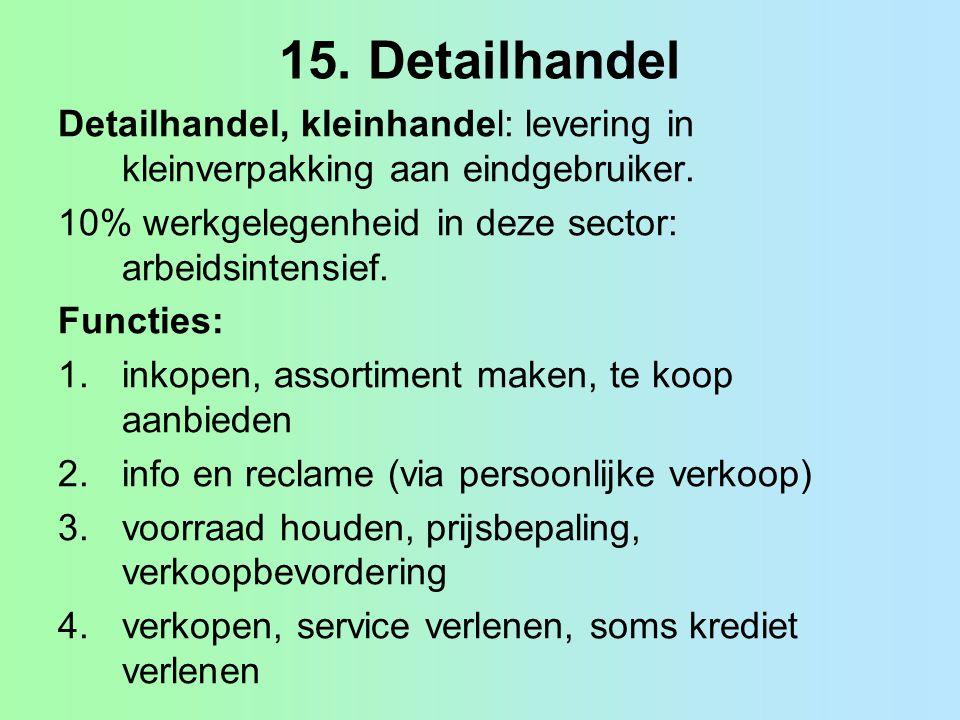 15. Detailhandel Detailhandel, kleinhandel: levering in kleinverpakking aan eindgebruiker. 10% werkgelegenheid in deze sector: arbeidsintensief. Funct