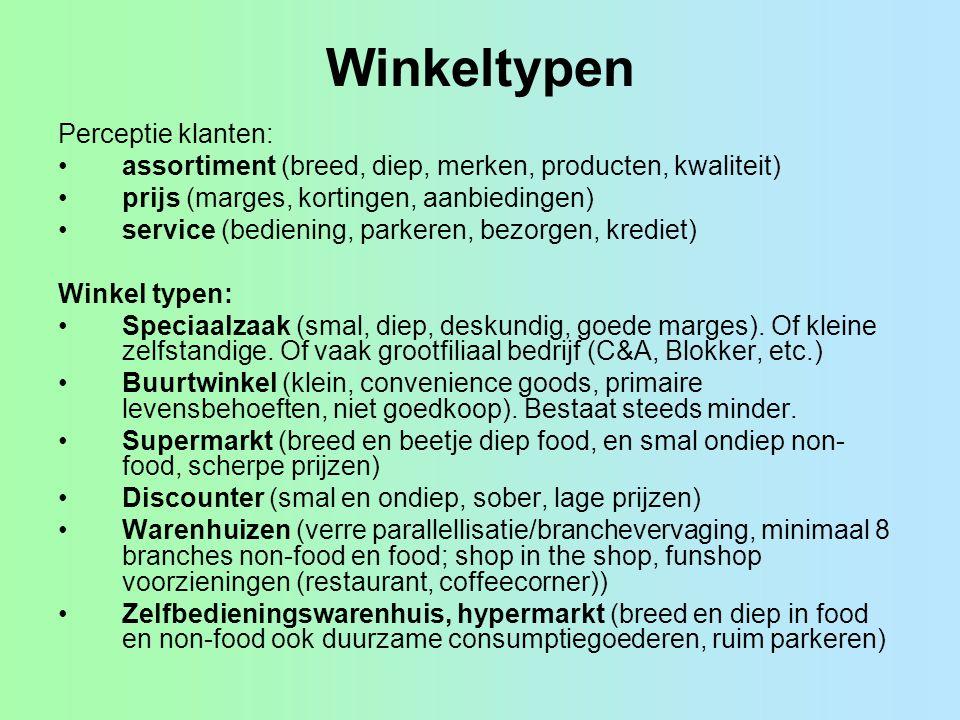 Winkeltypen Perceptie klanten: assortiment (breed, diep, merken, producten, kwaliteit) prijs (marges, kortingen, aanbiedingen) service (bediening, par